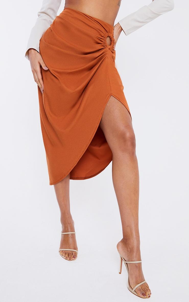 Rust Woven O Ring Cut Out Drape Midi Skirt 2