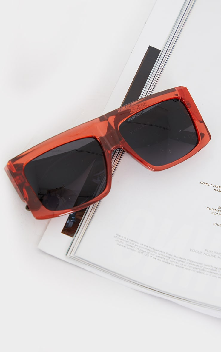 Dark Red Clear Chunky Square Frame Sunglasses 2