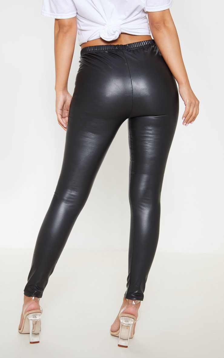 Petite Black PU Leggings 4