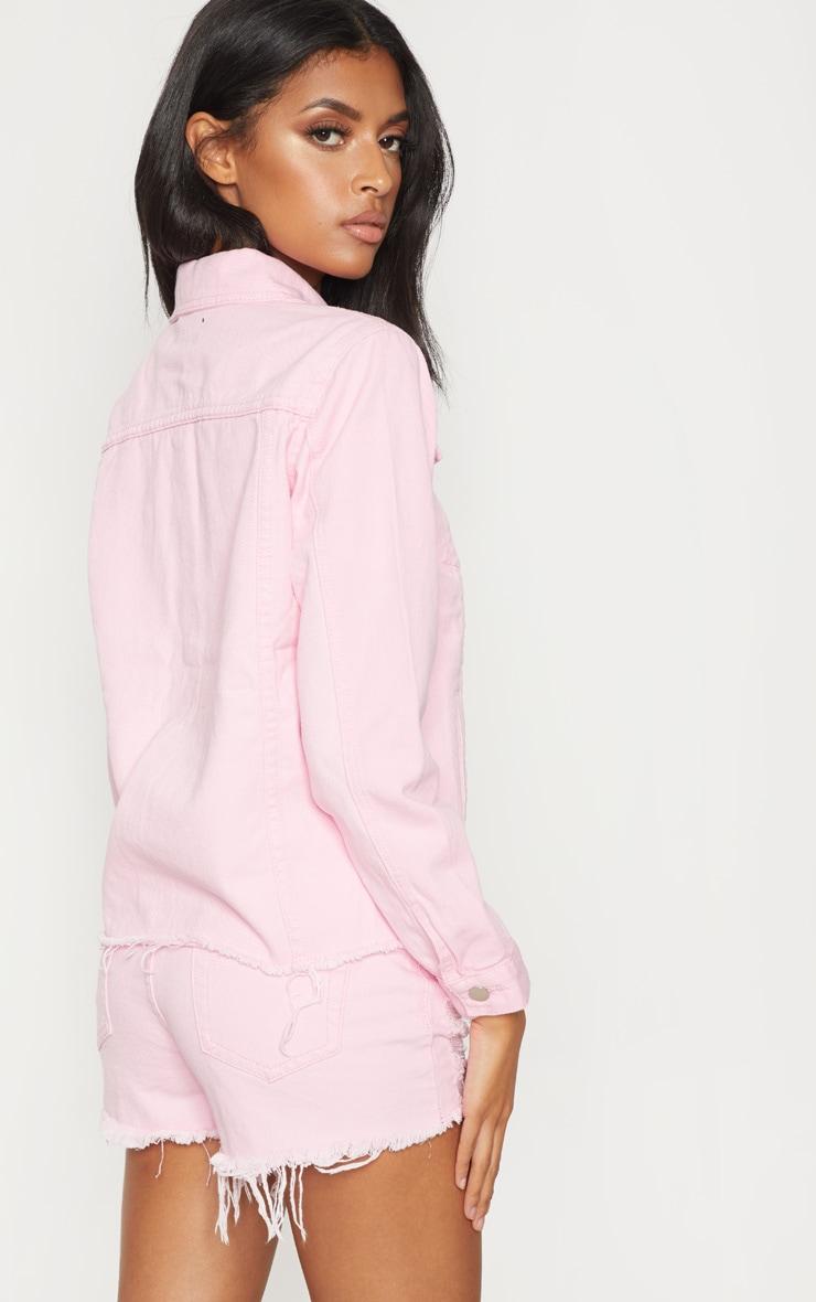 Pink Abegaila Oversized Denim Jacket 2
