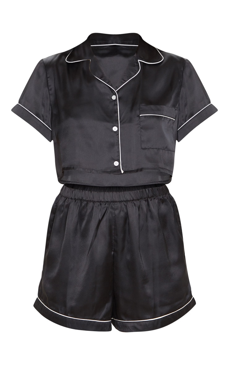 Black Cropped Satin PJ Shorts Set 3