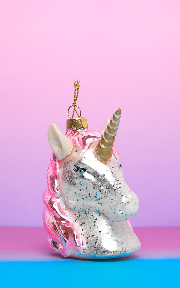 Sass & Belle Pink Shimmer Unicorn Head Shaped Bauble 2