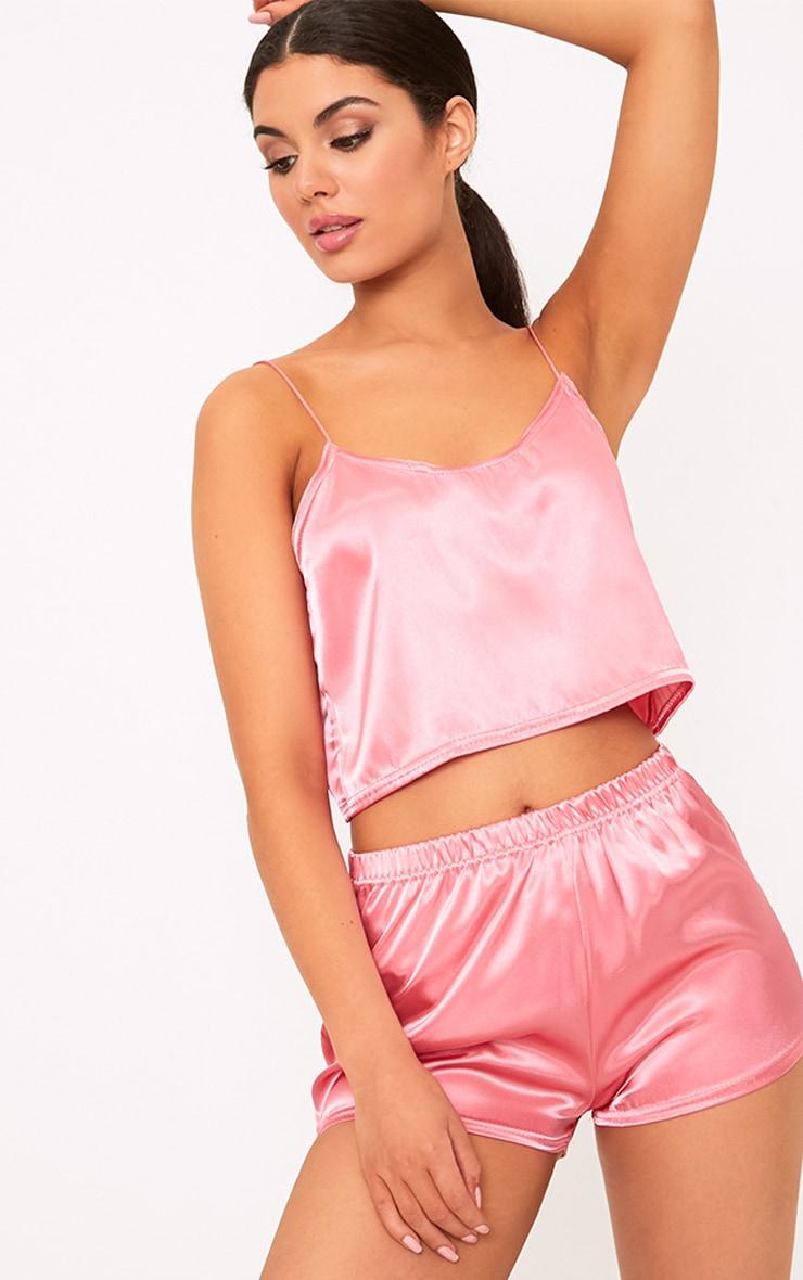Ensemble de pyjama short satiné rose