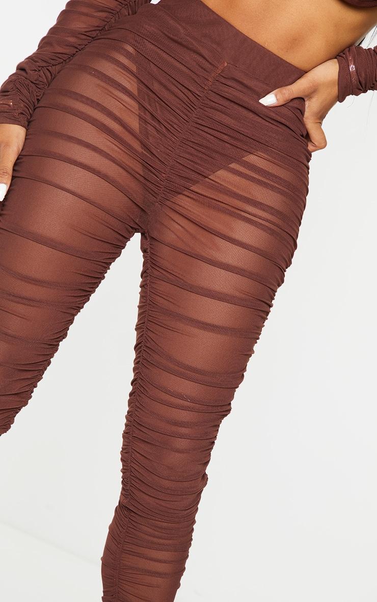 Shape Chocolate Brown Mesh Ruched Leggings 4