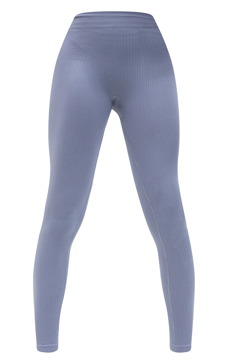 Tall  Grey Structured Contour Ribbed Leggings 5