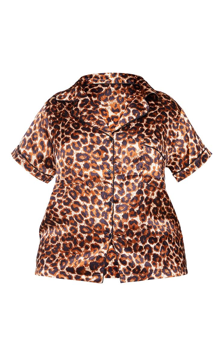 Plus Brown Leopard Button Up Short Satin PJ Set 5