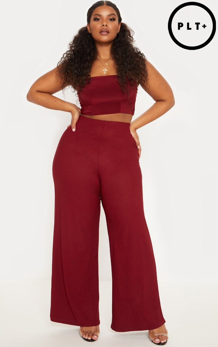 Plus Deep Burgundy High Waisted Wide Leg Trousers by Prettylittlething