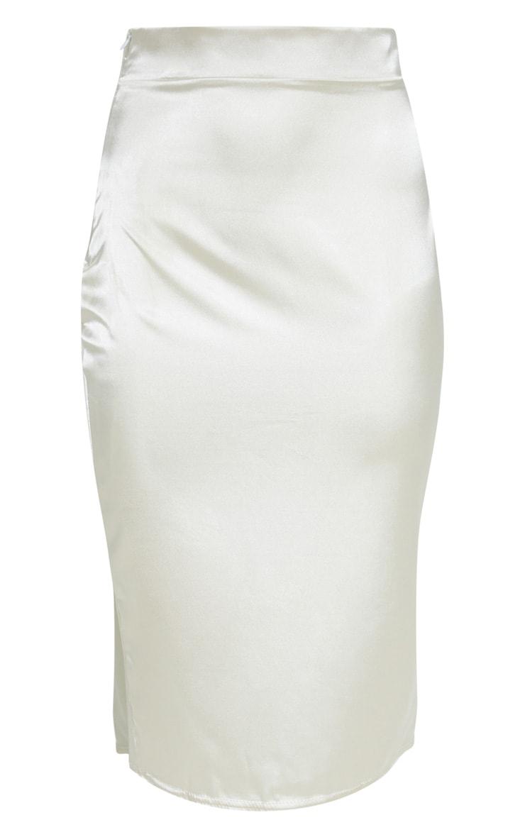 Champagne Satin Slit Front Midi Skirt  3