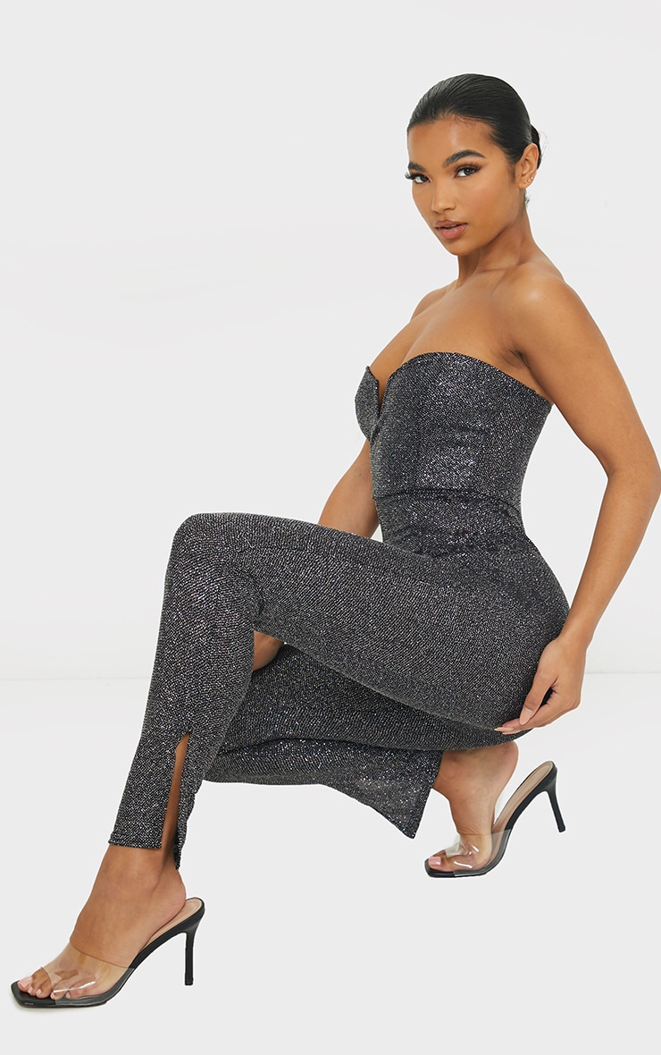 Black Glitter V Bar Bandeau Jumpsuit 1