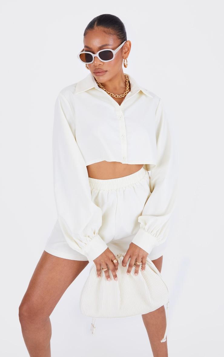 Cream Woven Oversized Cropped Shirt 1