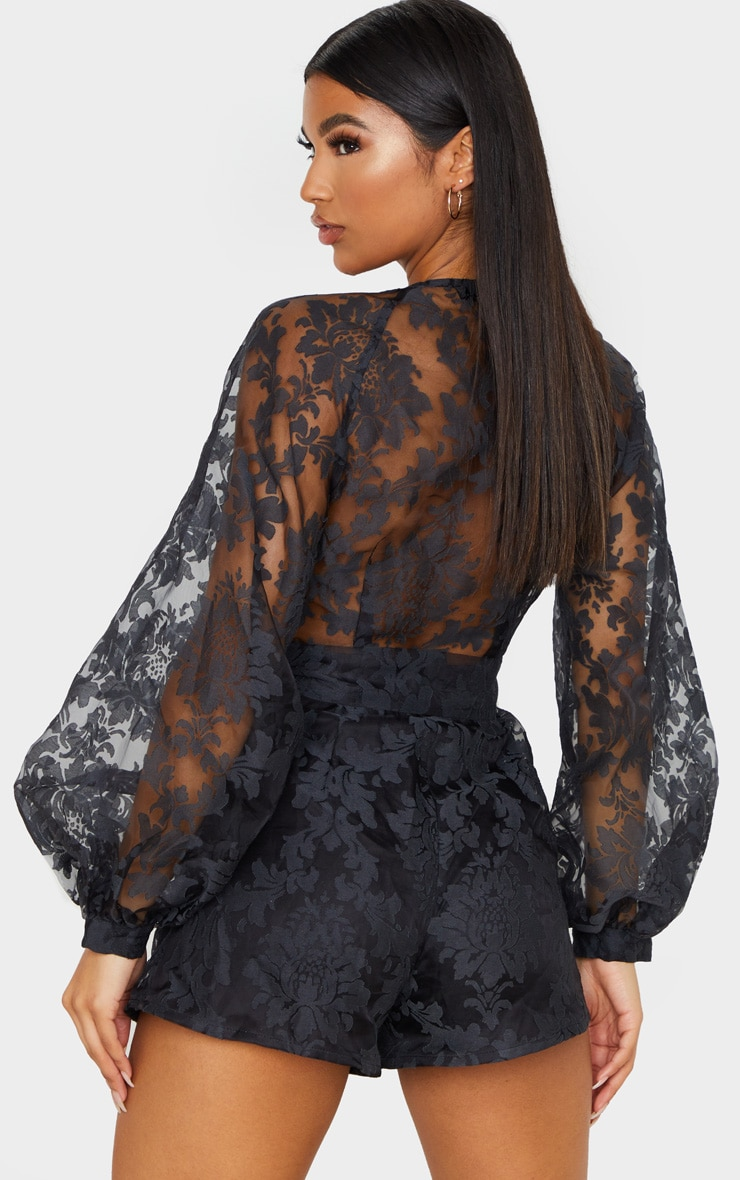 Black Delicate Lace Long Sleeve Tie Neck Romper 3