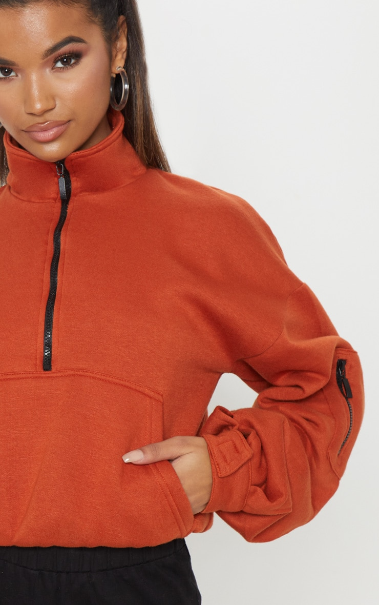 Rust Oversized Zip Front Sweater  5