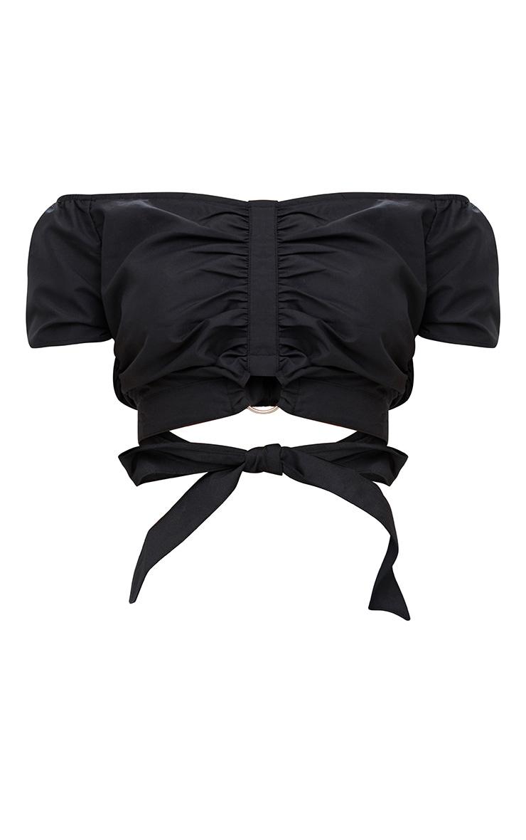 Black Bardot Ruched O Ring Tie Crop Top 3