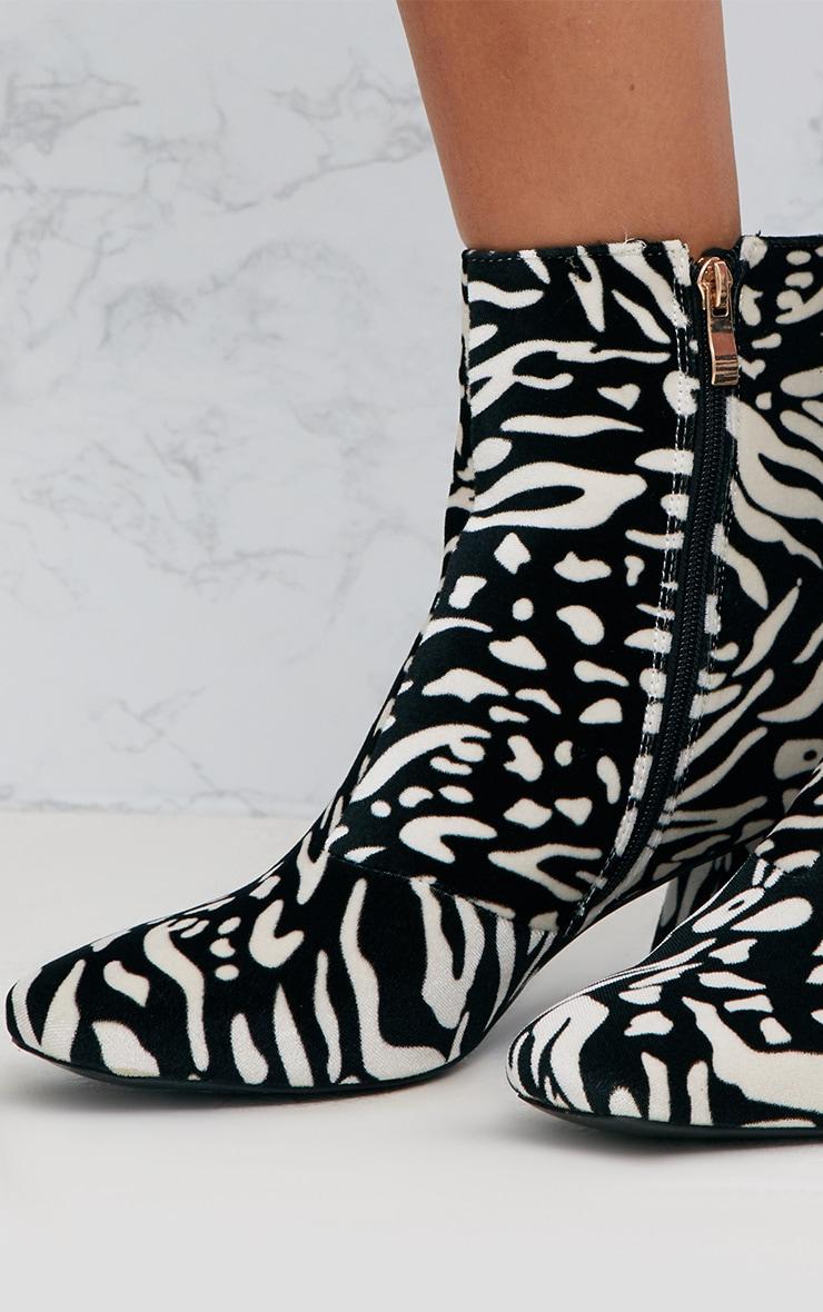 Black Zebra Printed Velvet Ankle Boots 5