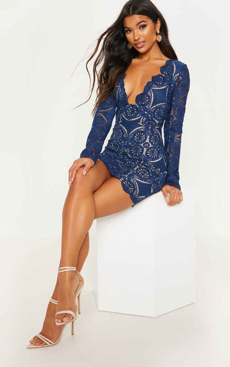 Navy Crochet Lace Plunge Bodycon Dress 1