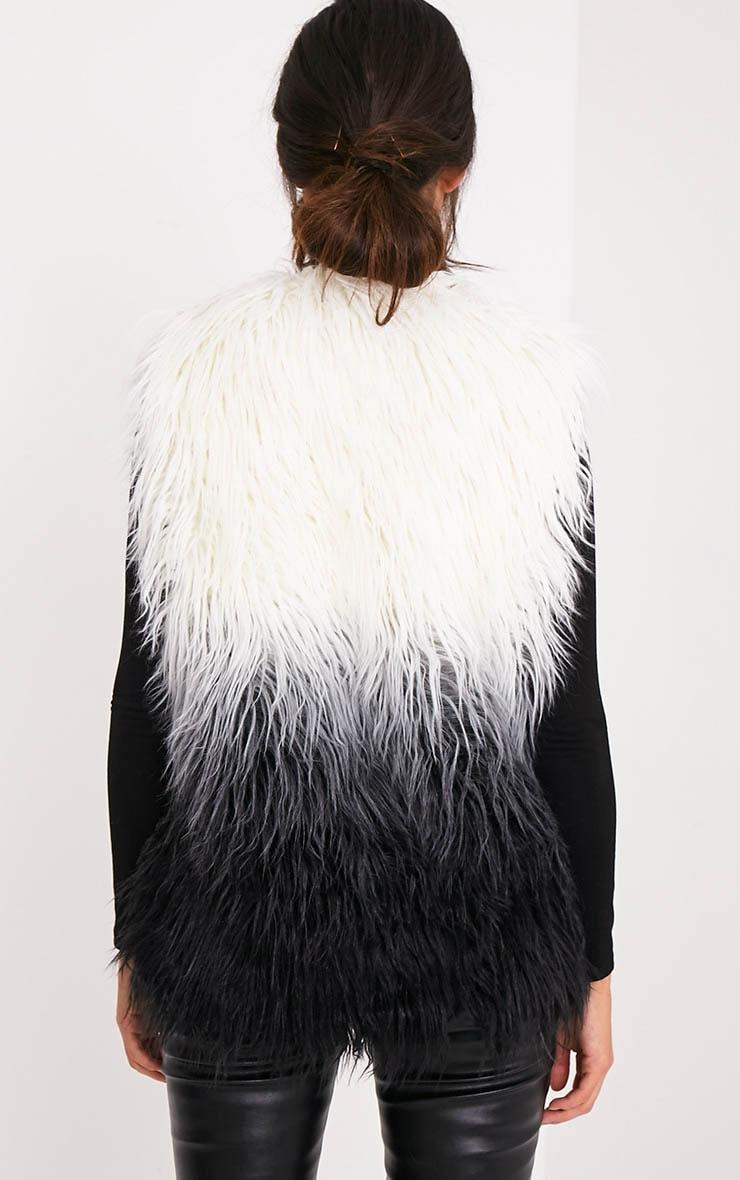 Cher veste sans manche noire ombrée en fausse fourrure 2
