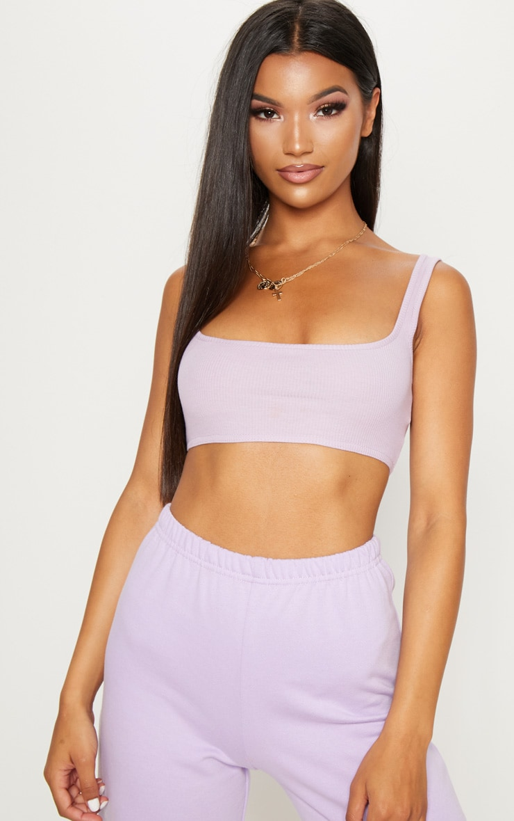 Lilac Rib Extreme Scoop Neck Bralet 4