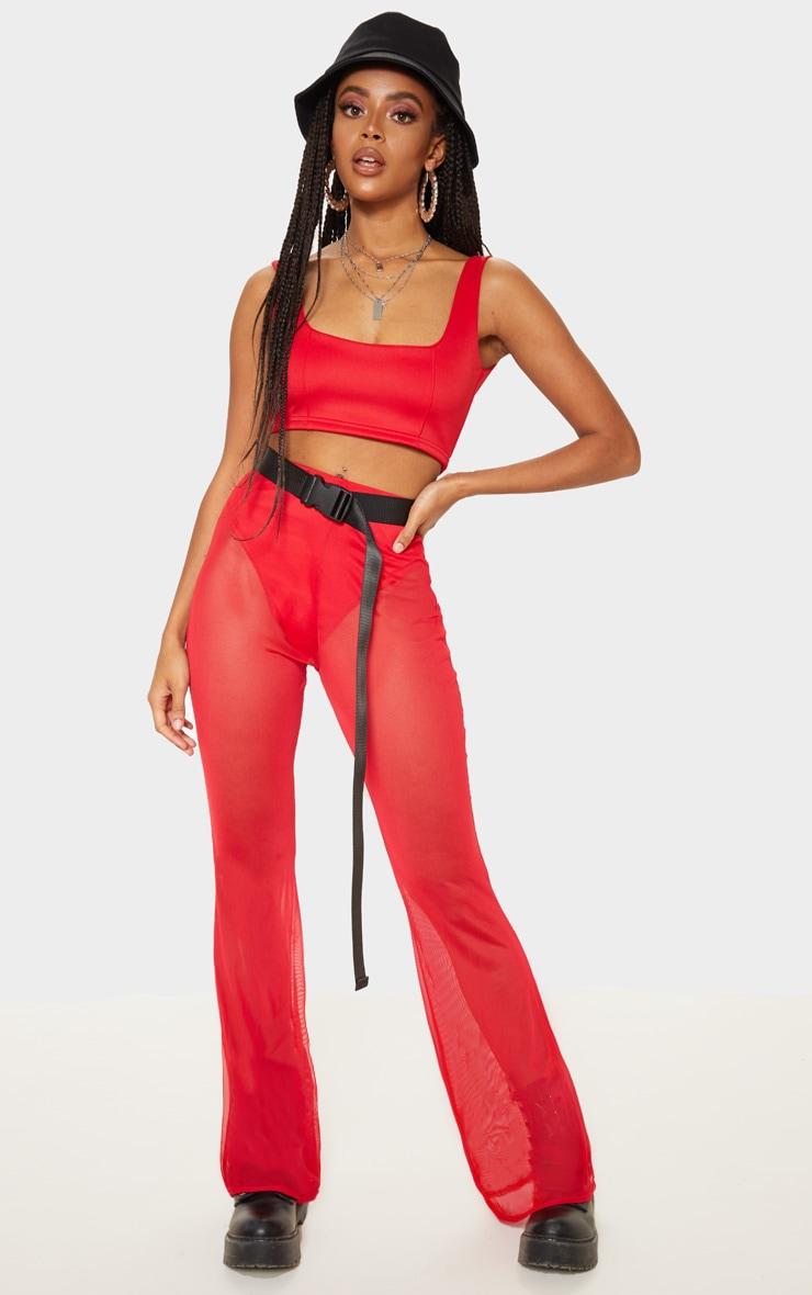 Pantalon en mesh rouge à jambes évasées 1