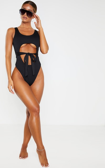Black Crinkle Cut Out Belted Swimsuit