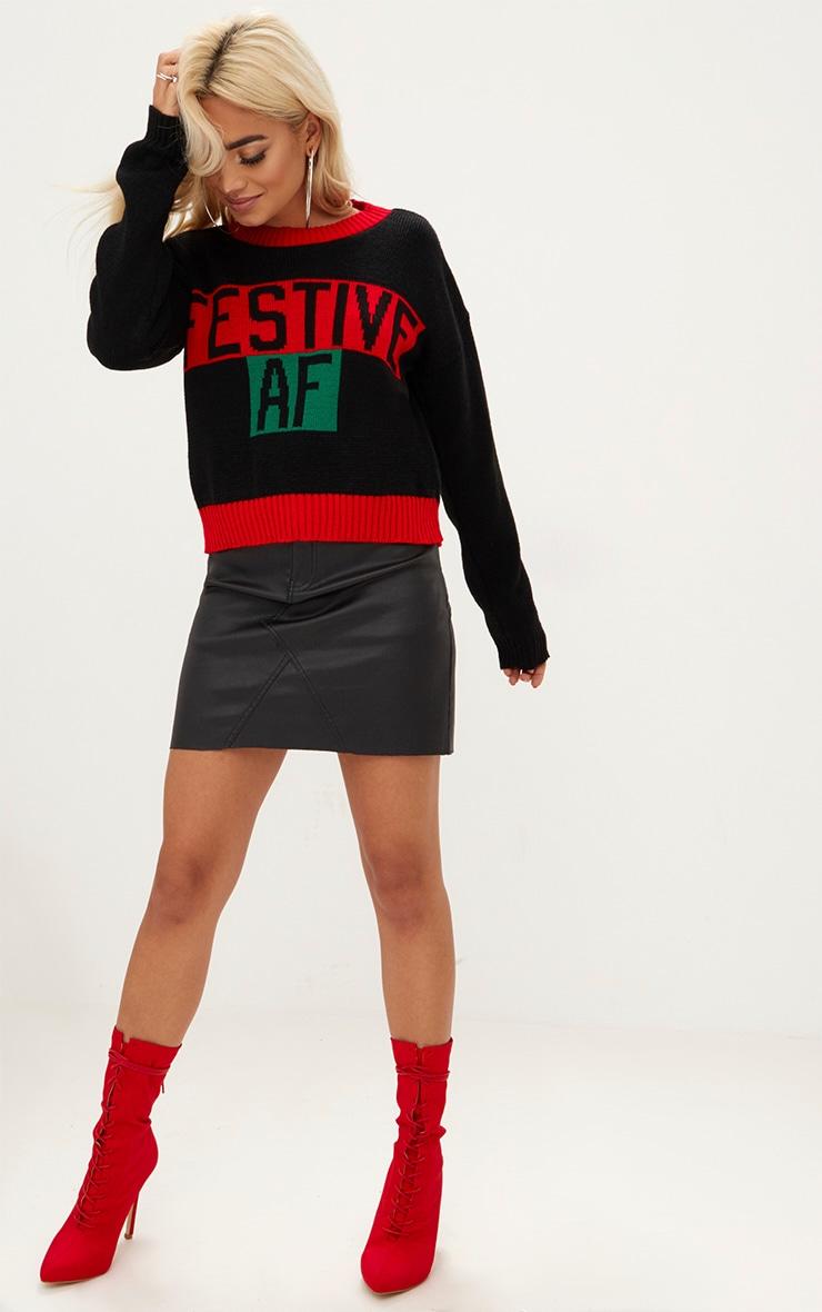Black Festive AF Christmas Jumper 3