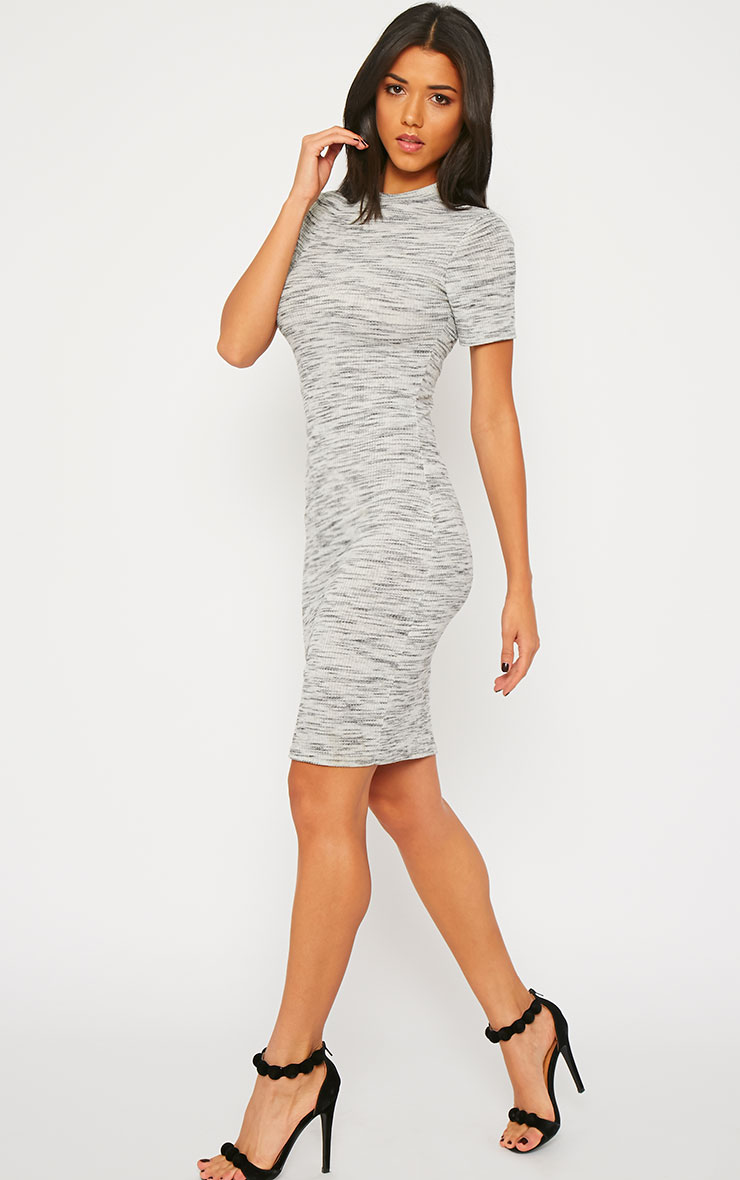 Ragna Grey Marl Short Sleeve High Neck Dress 3