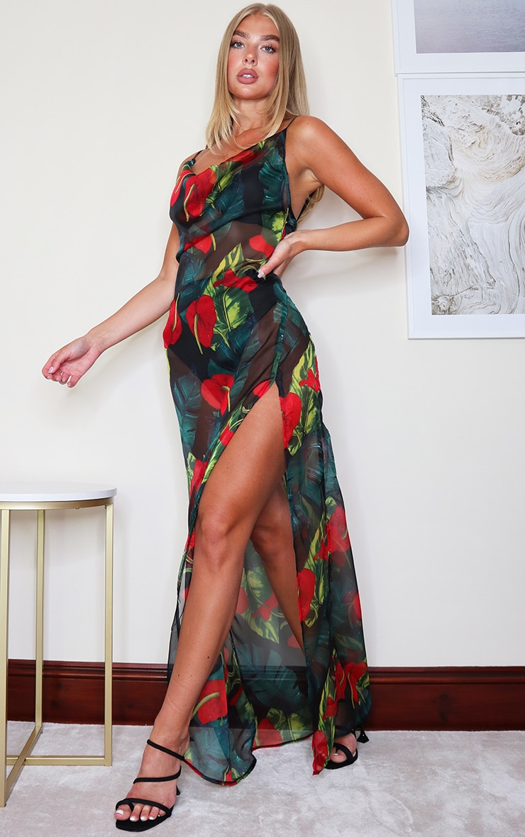 Red Floral Palm Cowl Neck Beach Dress 1