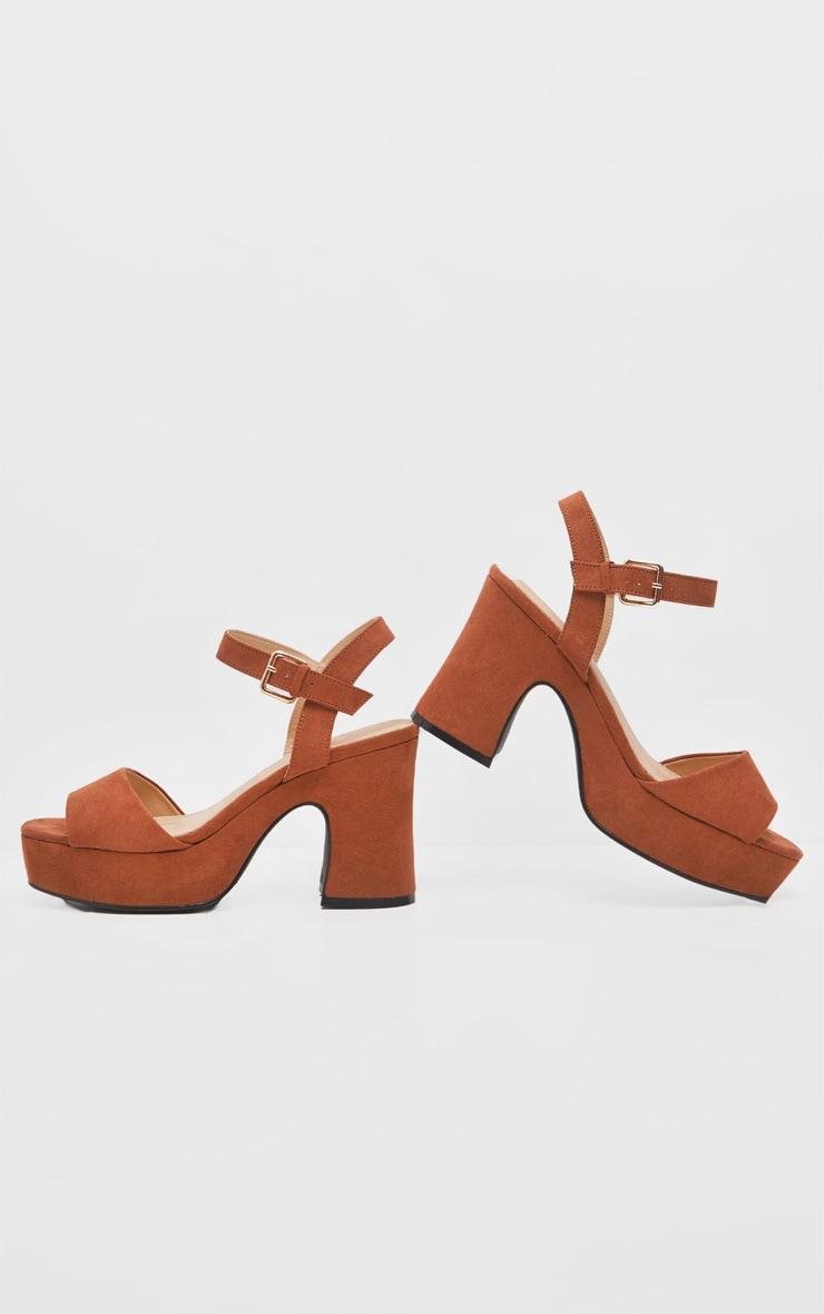 Tan 70's Platform Chunky Sandal 3