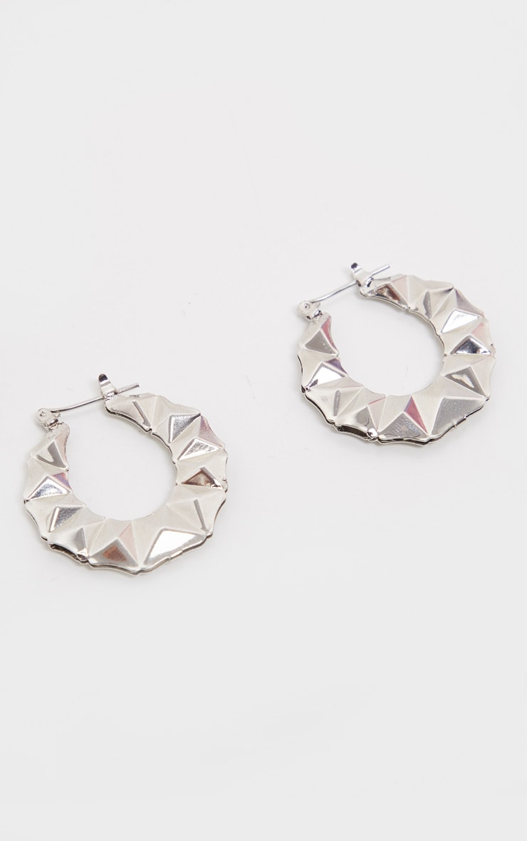 Silver Mini Faceted Hoops 1