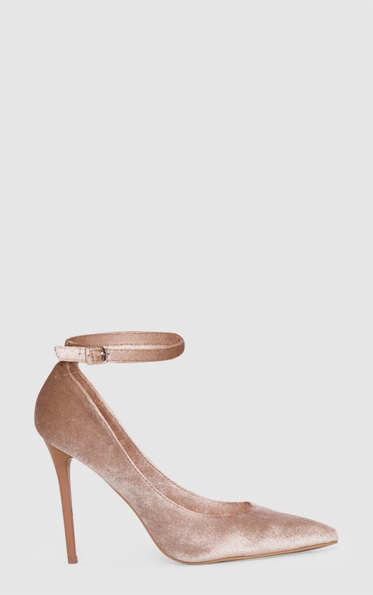 Beige Velvet Ankle Strap Pointy Heels 3