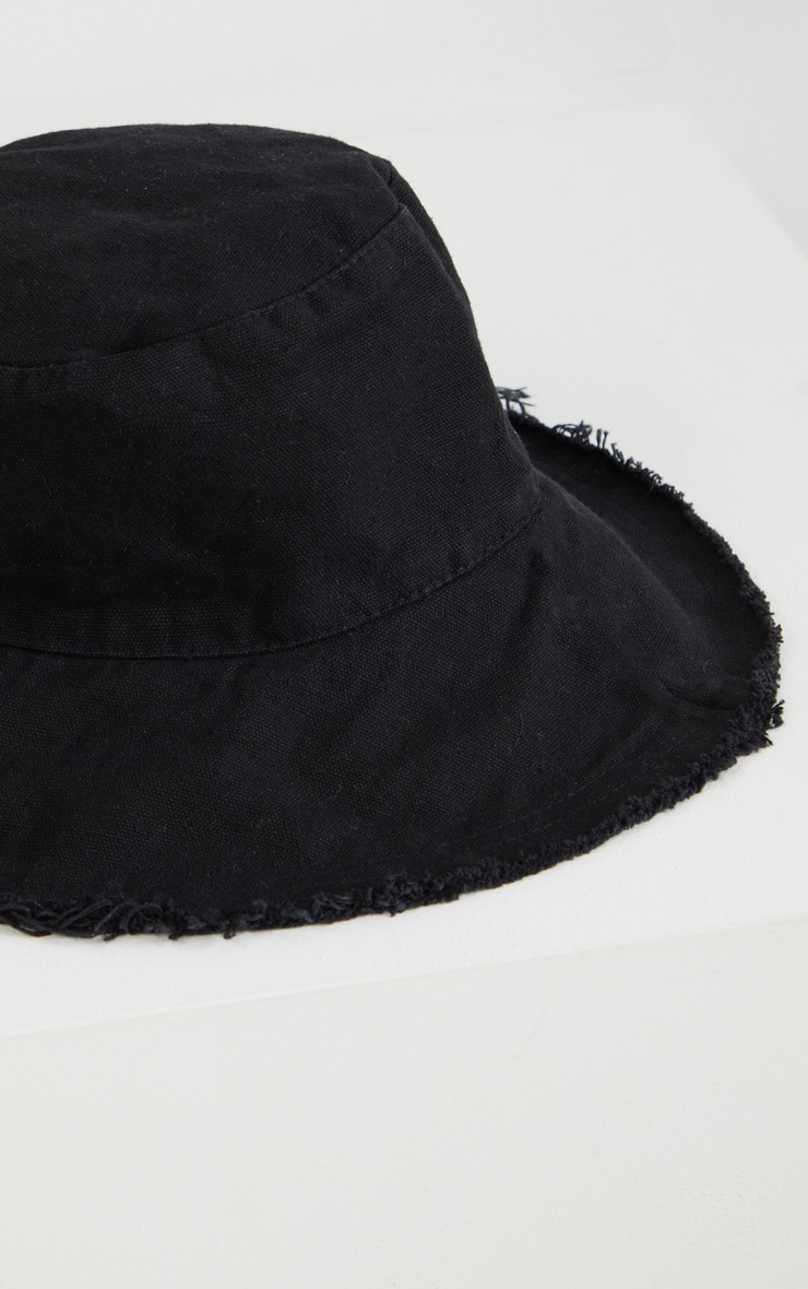 Black Cotton Frayed Edge Bucket Hat 3