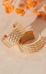 Gold Textured Mini Hoop Earings 2