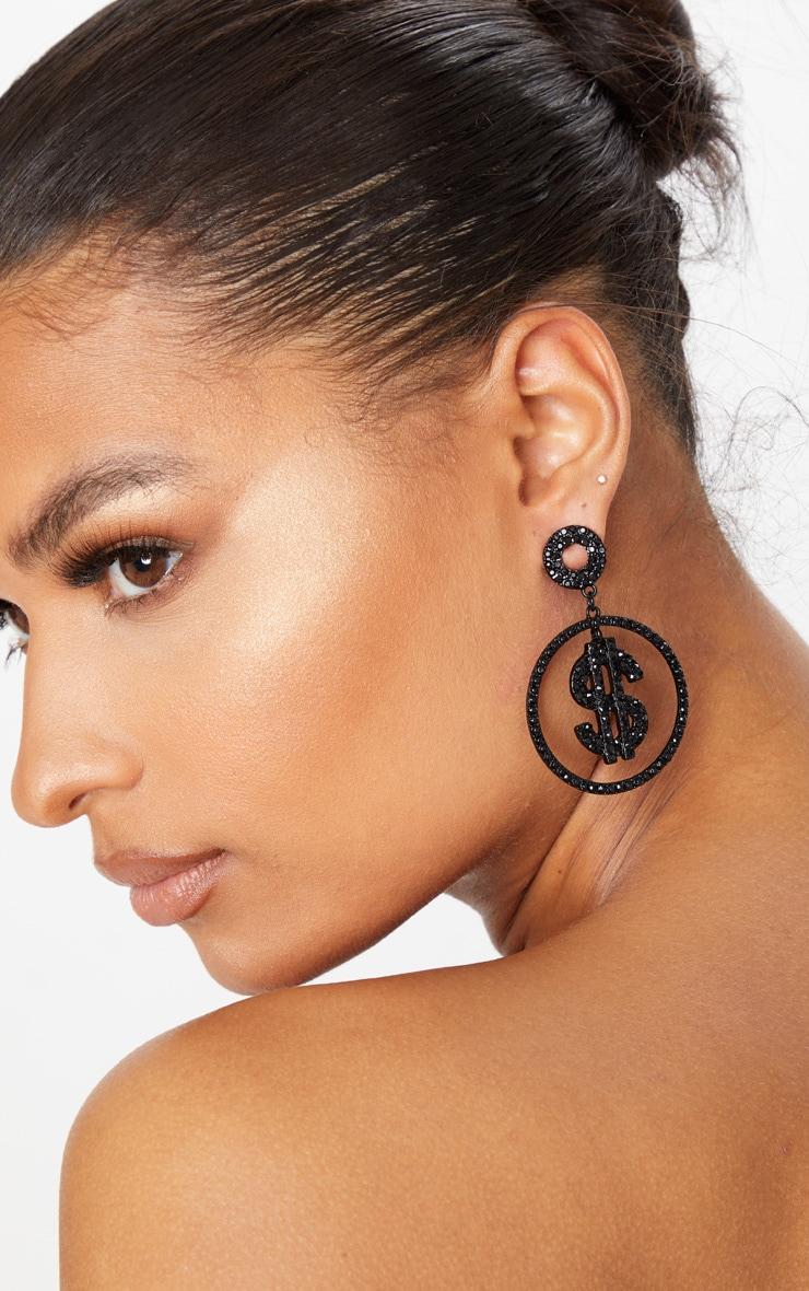 Black Crystal Dollar Sign Small Hoop Earrings 1