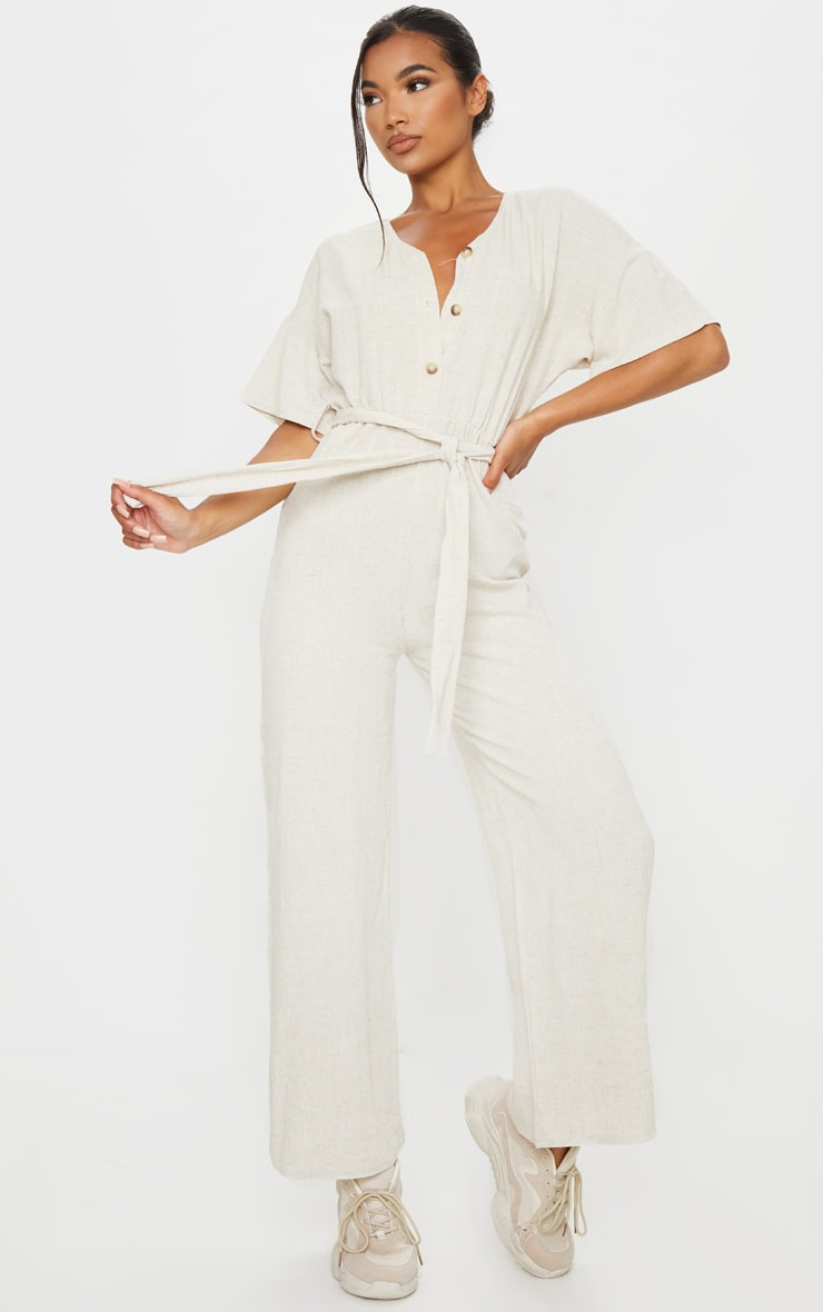 Stone Woven Button Detail Tie Waist Jumpsuit 1
