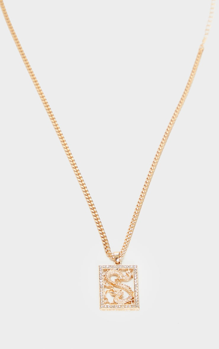 Gold Square Diamante Dragon Necklace 3