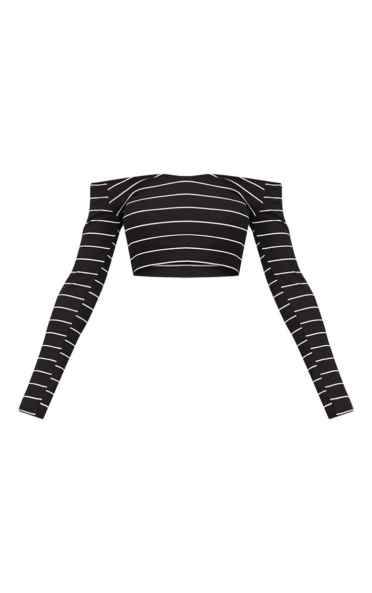 Black Ribbed Stripe Off Shoulder Crop Top 3