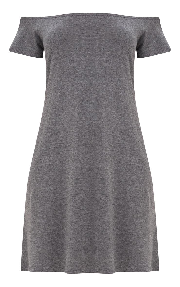Basic Charcoal Jersey Bardot Shift Dress 3