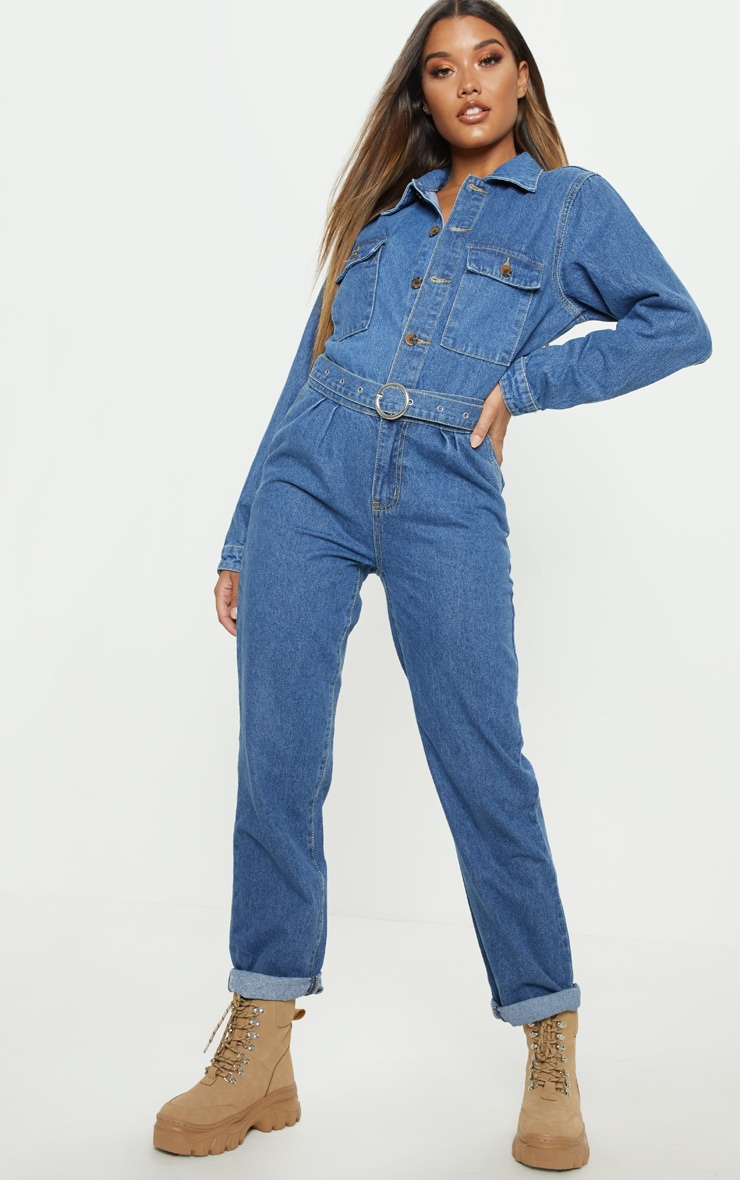Mid Wash Tortoise Button Belted Denim Boilersuit