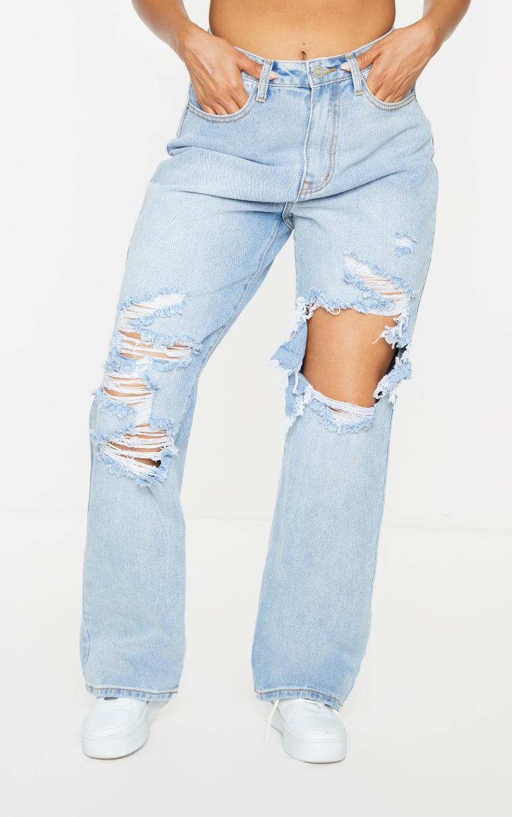 Vintage Wash Open Knee Distressed Boyfriend Jeans 2