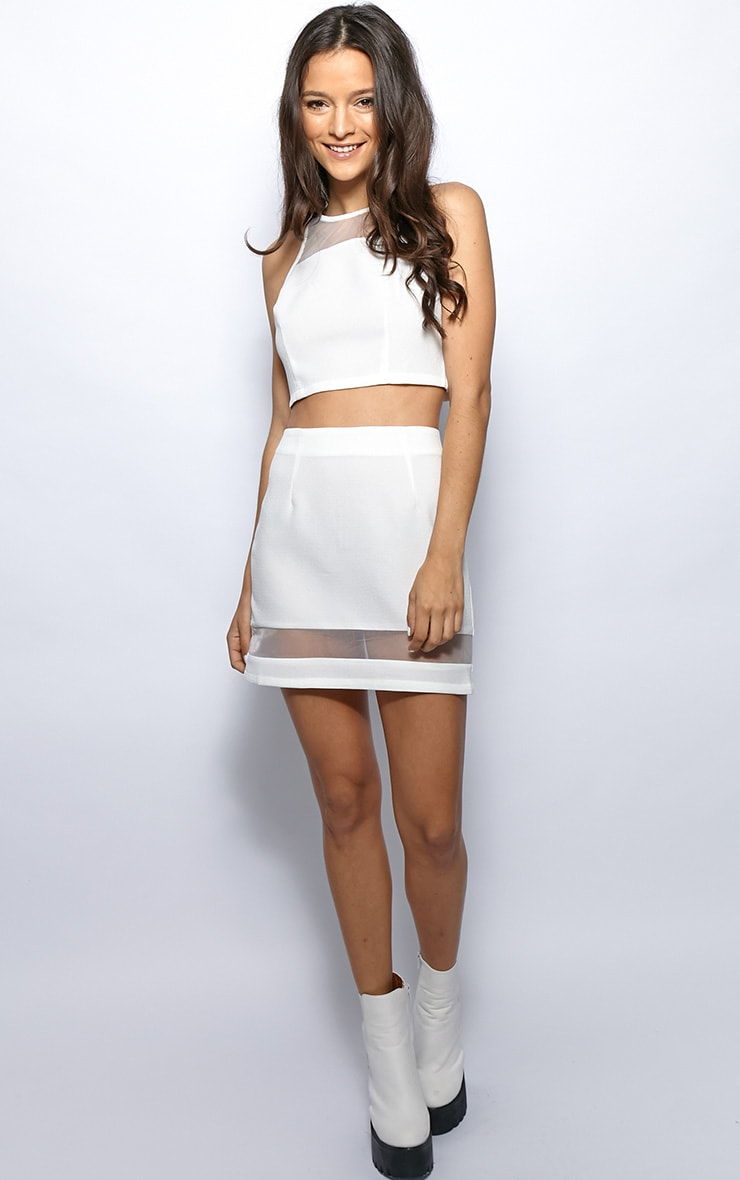 Iva White Mesh Panel Crop Top 3