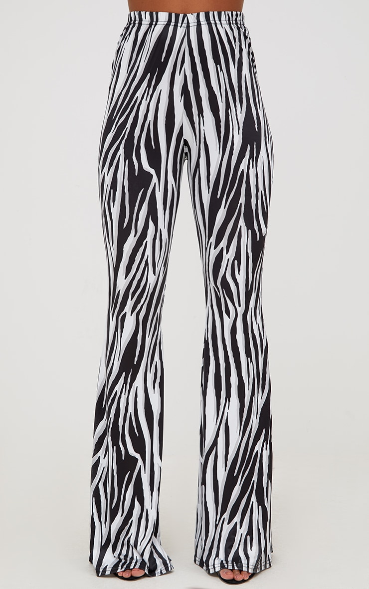 White Zebra Slinky Flared Trousers 2