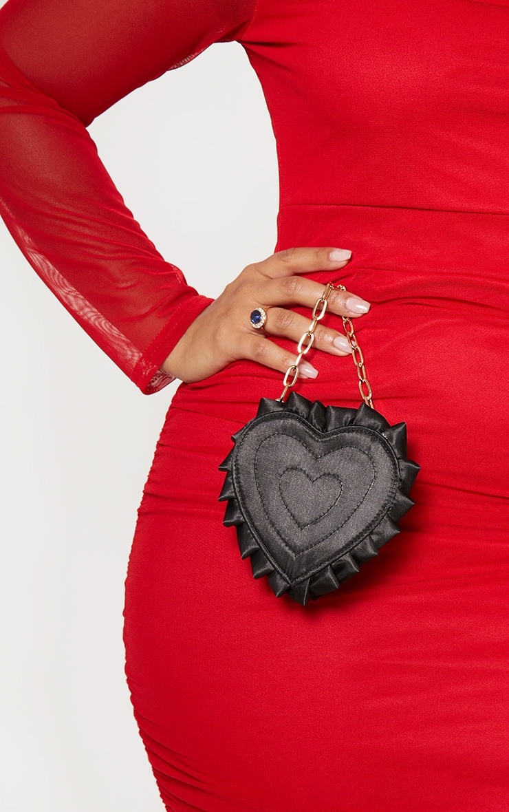 Black Satin Heart Mini Bag 1
