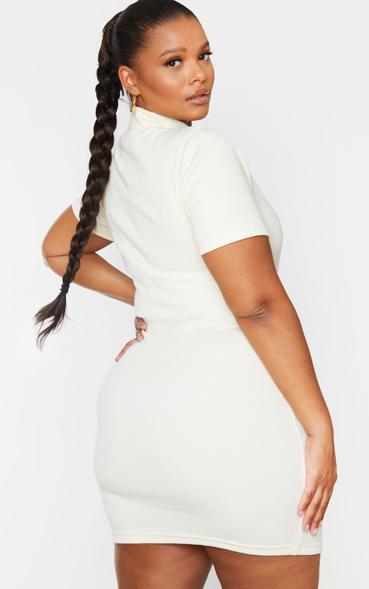 Plus Cream Thick Rib Bust Detail Bodycon Dress 2