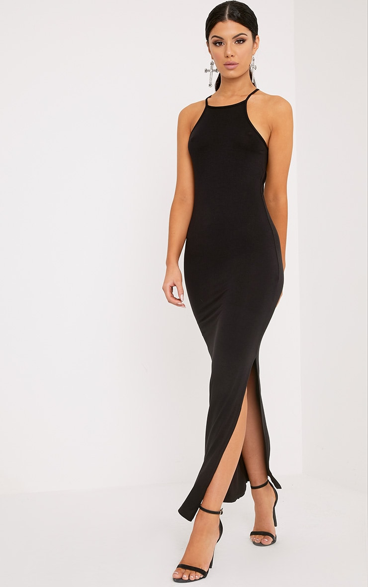 0675e2e1db Basic Black Square Neck Maxi Dress image 1