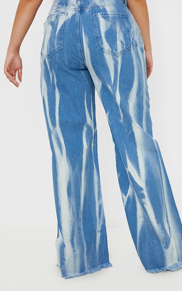 Plus Mid Blue Wash High Waist Tie Dye Wide Leg Jeans 3