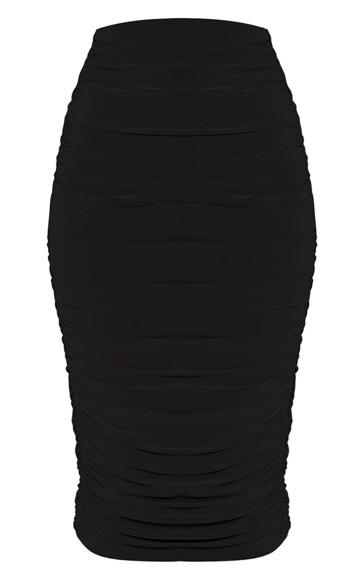 Sanchia Black Ruched Side Midi Skirt 3