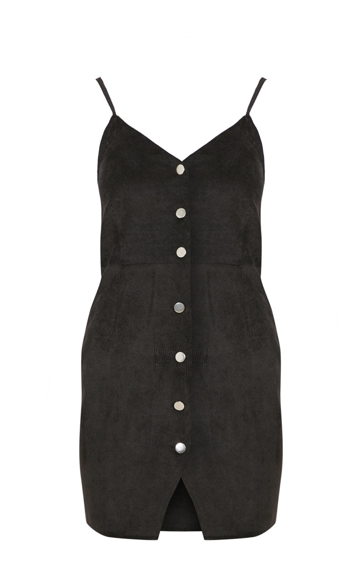 Black Corduroy Popper Front Bodycon Dress 3