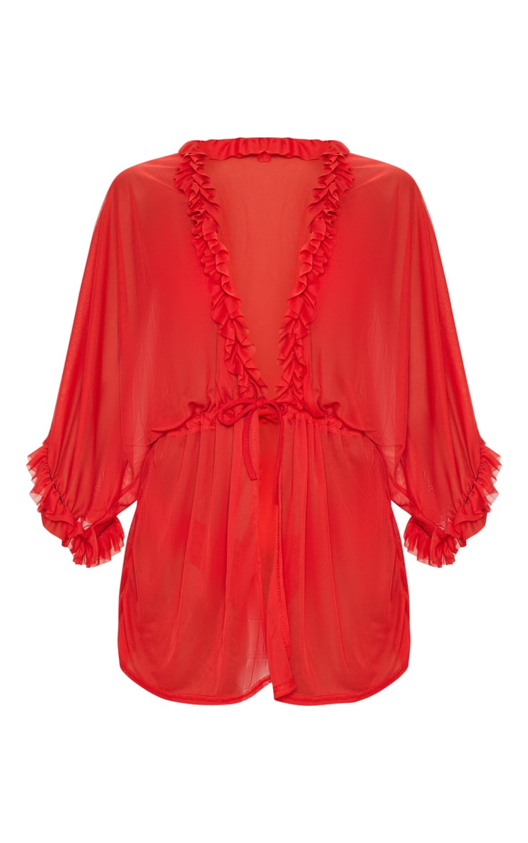 Red Frill Tie Waist Beach Cover Up 3