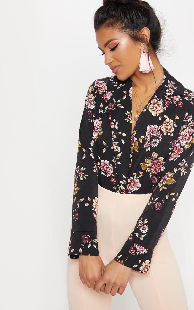 Black Floral Plunge Blazer Thong Bodysuit 1