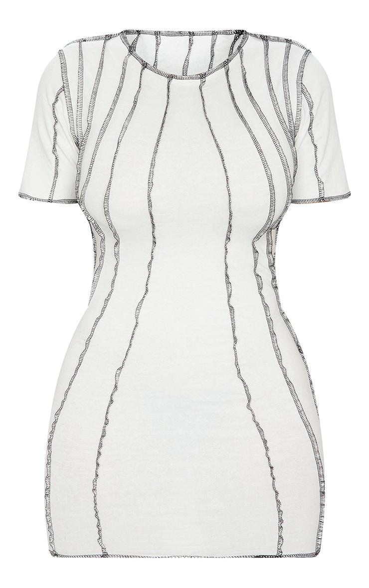 Shape Cream Contrast Seam Detail Short Sleeve Bodycon Dress 5