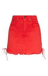 8b50dddf6 Petite Red Lace Up Side Denim Skirt | Petite | PrettyLittleThing